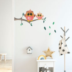 Cute owls on branch wall sticker