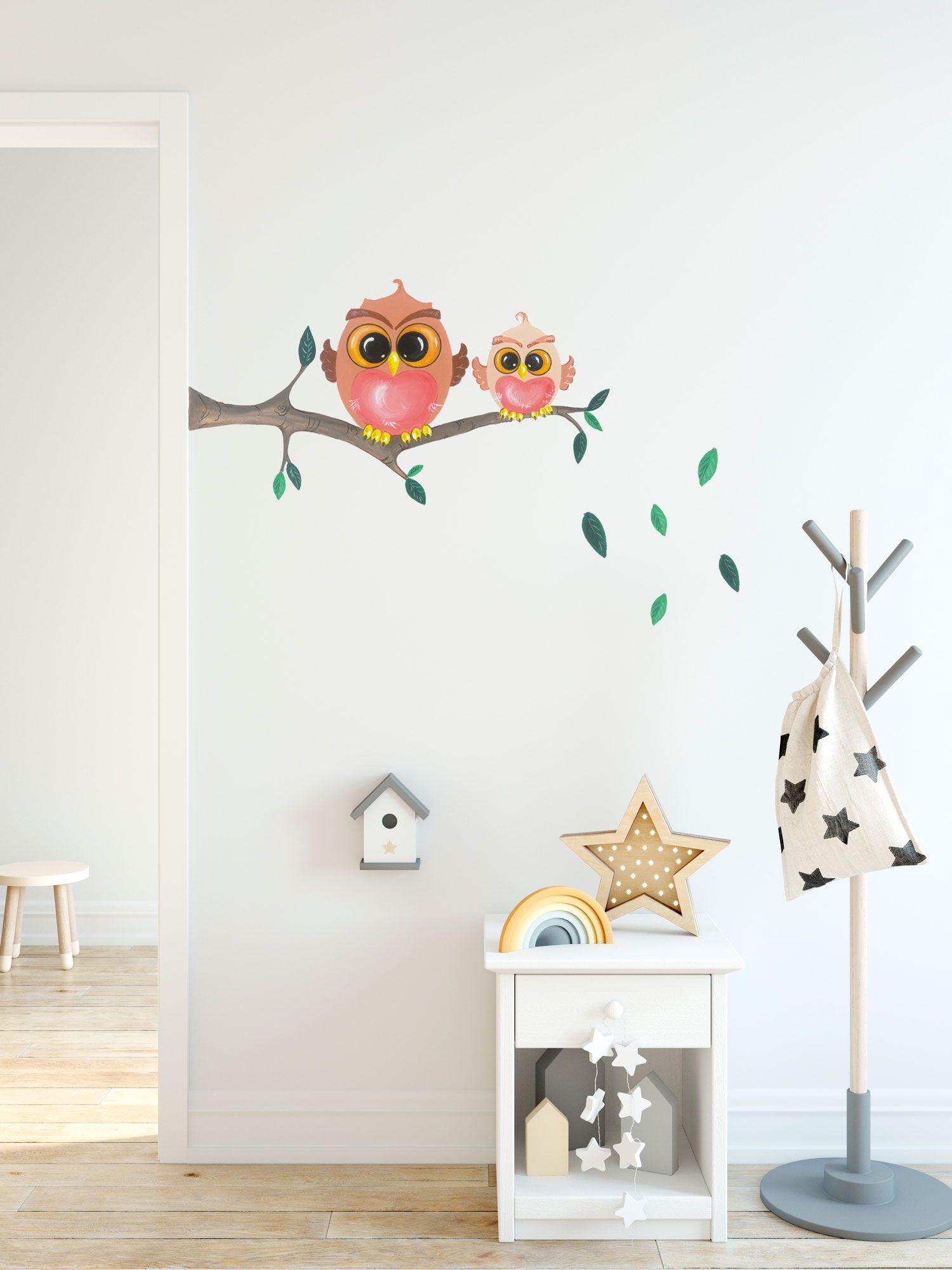Removable Wall Decal 2 CUTE OWLS ON THE BRANCH