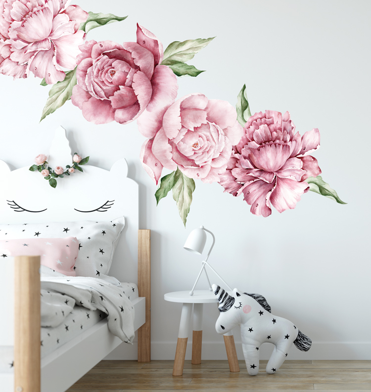 Watercolour Peony Flower Wall Stickers - EllieBlue Designs