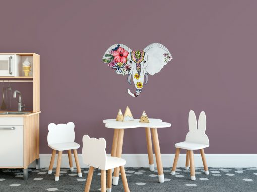 Elephant Head with Floral Design Wall Sticker
